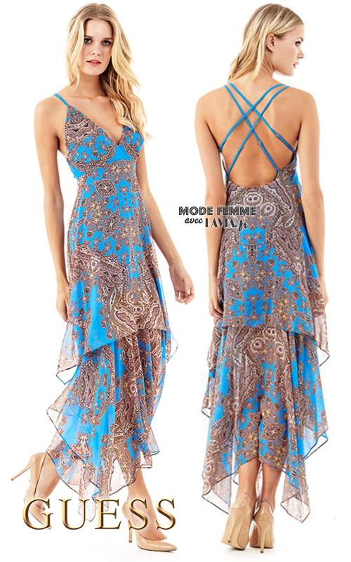 Robe longue en voile bleu imprimé Guess
