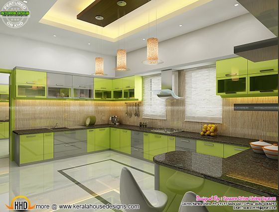 Green kitchen interior, Kerala