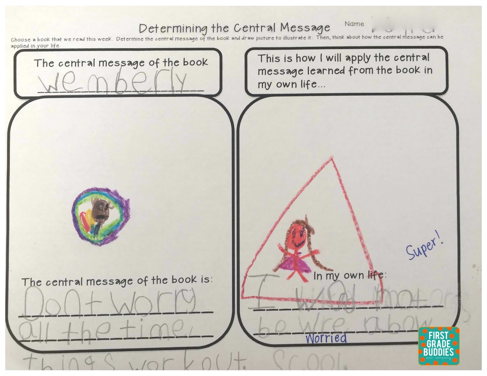 worksheet Supporting Details Worksheet first grade buddies determining the central message and wednesday september 30 2015