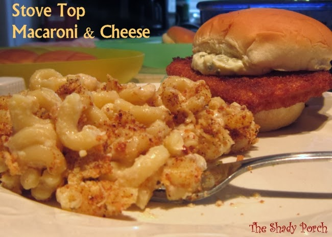 a serving of Homemade Stove Top Macaroni and Cheese