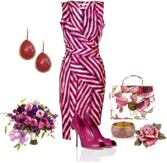 Purple and white gown, high heel sandals, flowered hand bag and ear rings for ladies