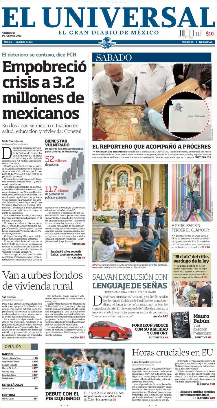 Noticias guerrer s sme titulares de peri dicos 30 julio 2011 for Ultimas noticias del espectaculo de hoy