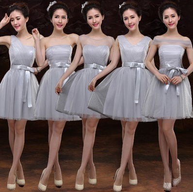 6-Design Tutu Silvery Gray Lace Midi Dresses