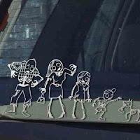 Zombie family sticker for back of window in car minivan suv