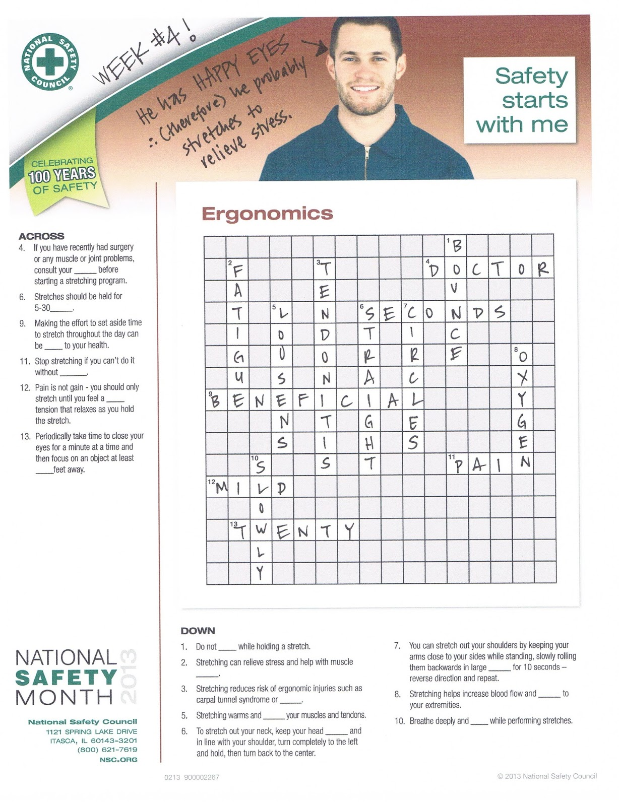 Workplace safety crossword puzzle pdf pictures