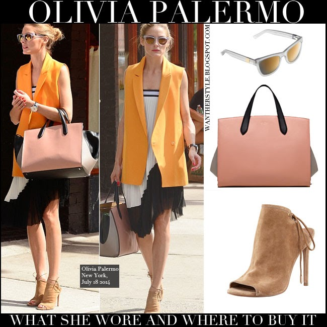 WHAT SHE WORE: Olivia Palermo in orange jacket with black and white ...