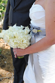 hydrangea bridal bouquet and grey sash