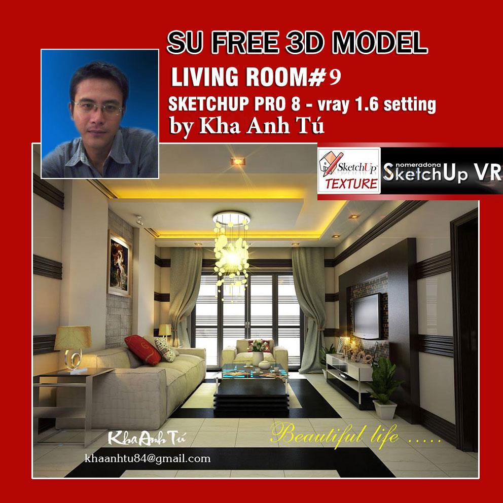 SKETCHUP TEXTURE: SU 3D MODEL LIVING ROOM #9 VRAY SETTING