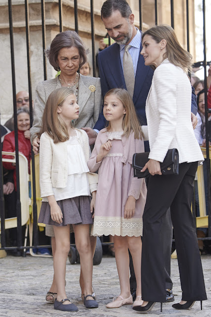 Queen Letizia of Spain and King Felipe of Spain, Queen Sofia of Spain, Princess Leonor of Spain and Princess Sofia of Spain