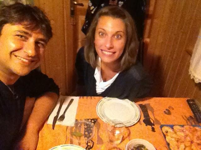Cena en la cabaña