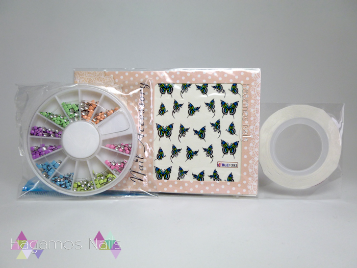 Sorteo tachuelas, water decals, nail tape. Cumpleblog. Hagamos Nails