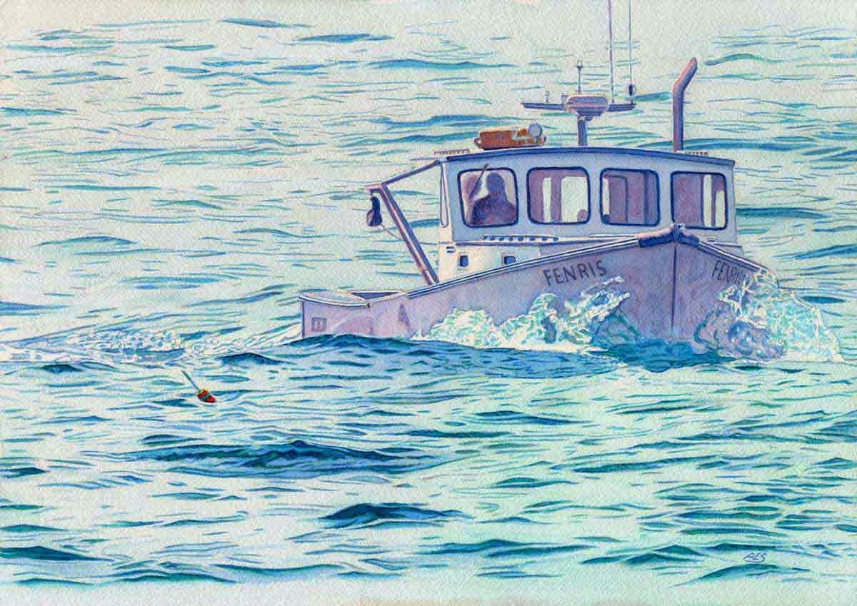 "Fenris III Lobster Boat - Watercolor 14"" x 20"""