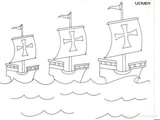 dibujo para colorear de las Tres Carabelas de Cristobal Colon
