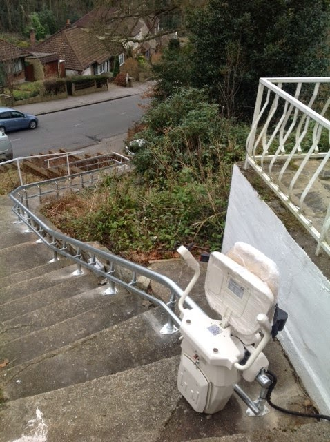 Curved Stairlifts for external stairs from Dolphin Mobility