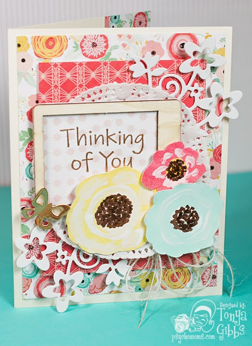 Thinking of You card using the Just Sayin' line from My Mind's Eye designed by Tonya Gibbs   #psychomomscrapbooks #MME #Card