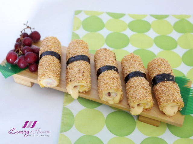 delicious ham cheese sushi rolls party recipe