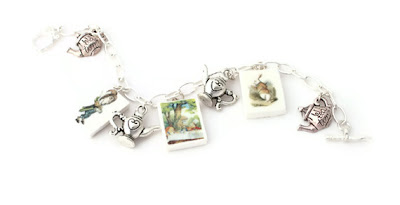 The Mad Hatters Tea Party Charm Bracelet handmade from Polymer Clay
