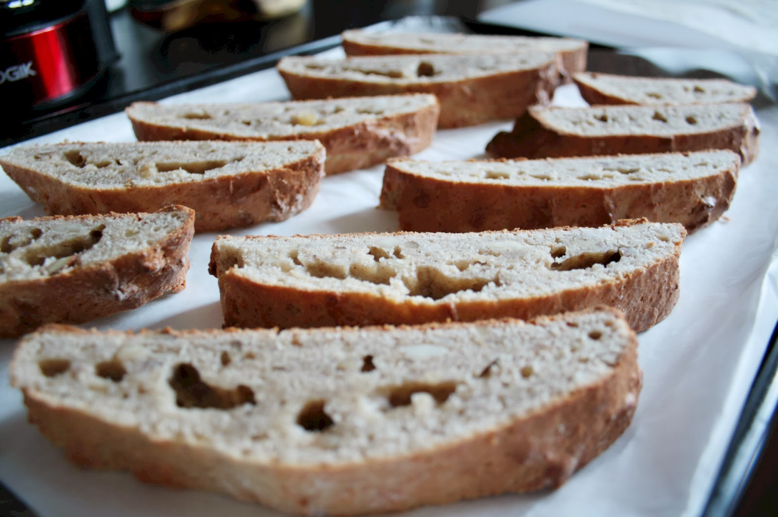 Use brown bananas to make these cafe style treats - banana and nut biscotti