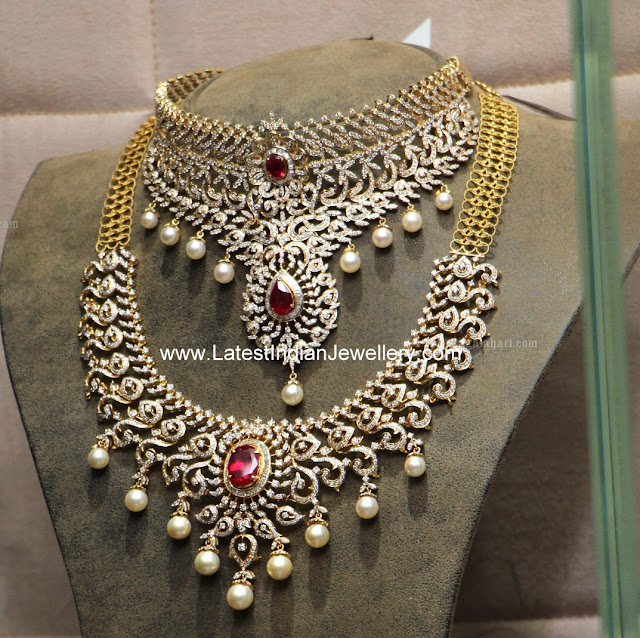 indian Diamond Ruby jewellery Set