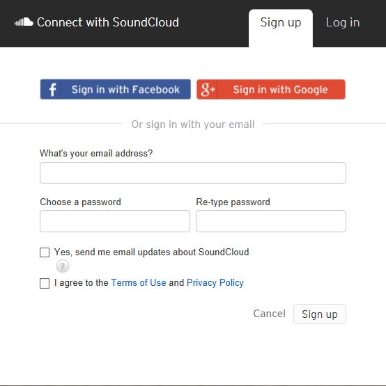crear cuenta en soundcloud