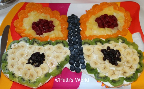 Butterfly Themed Food Kids party fruit pizza