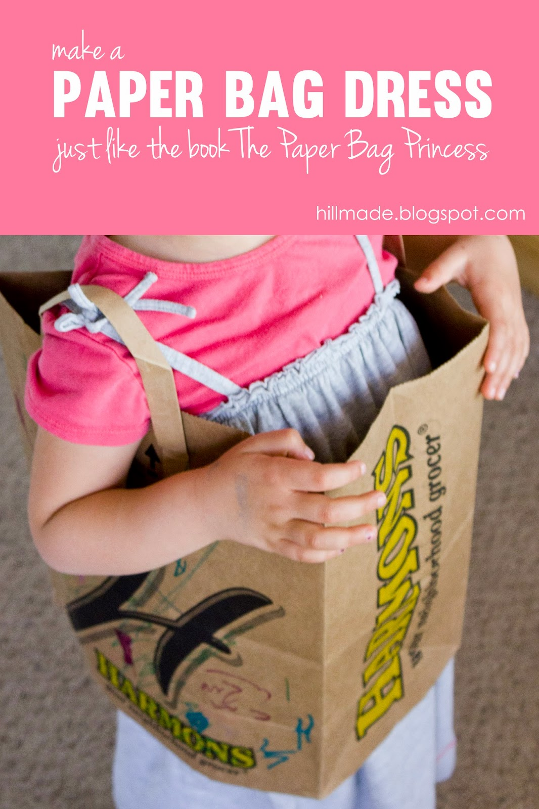 Make a paper bag dress to go along with the story The Paper Bag Princess by Robert Munsch | hillmade.blogspot.com