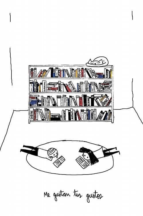 Ser cursi nivel: compartir mis libros contigo, y si el leer no es lo tuyo, ven, yo leo para ti.♥
