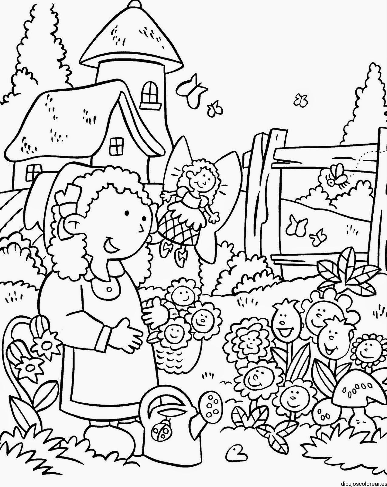 colorear jardin de flores