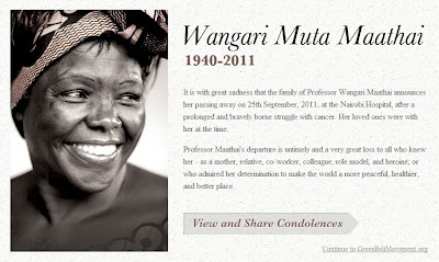 Homenagem a Wangari Maathai no site do Greenbelt Movement