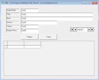 Cara Hapus DeleteDatabase SQL Server Dengan VB 6.0