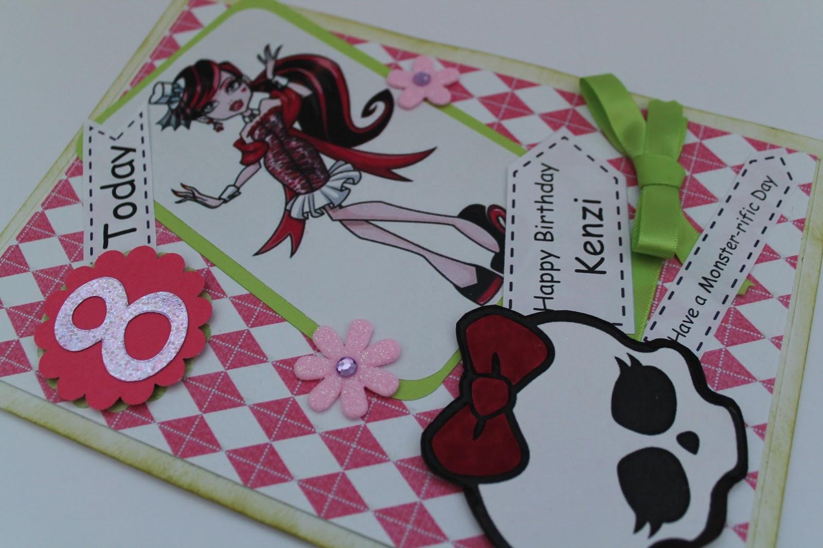 made by milburn monster high birthday card, Birthday card