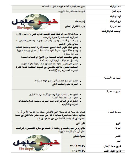 اعلان وظائف وزارة الطيران المدنى 2015 - الاوراق المطلوبة والتقديم حتى 8 / 12 / 2015