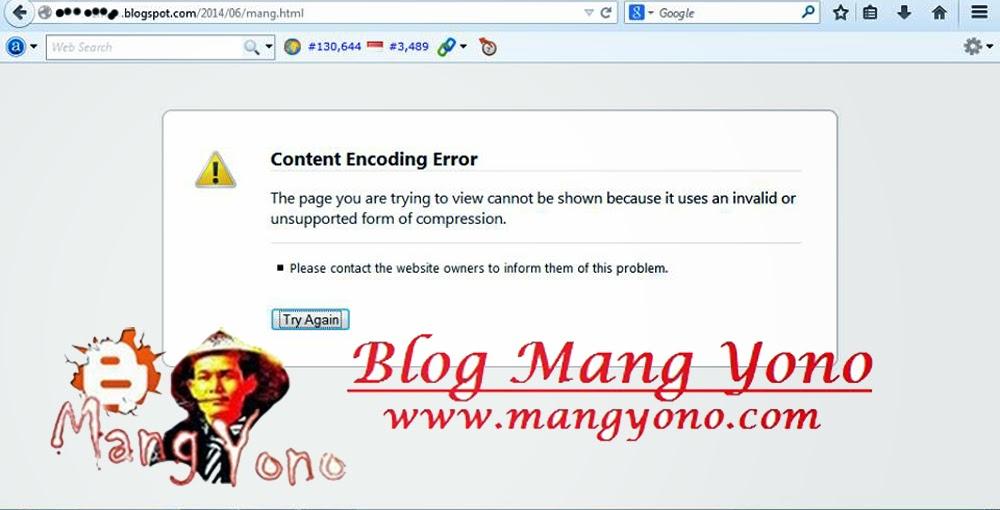 muncul error 'content encoding error' ketika membuka sebuah web