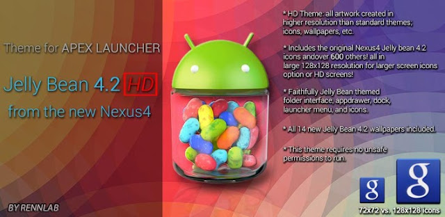 Jelly Bean 4.2 HD Apex Theme v1.1 APK