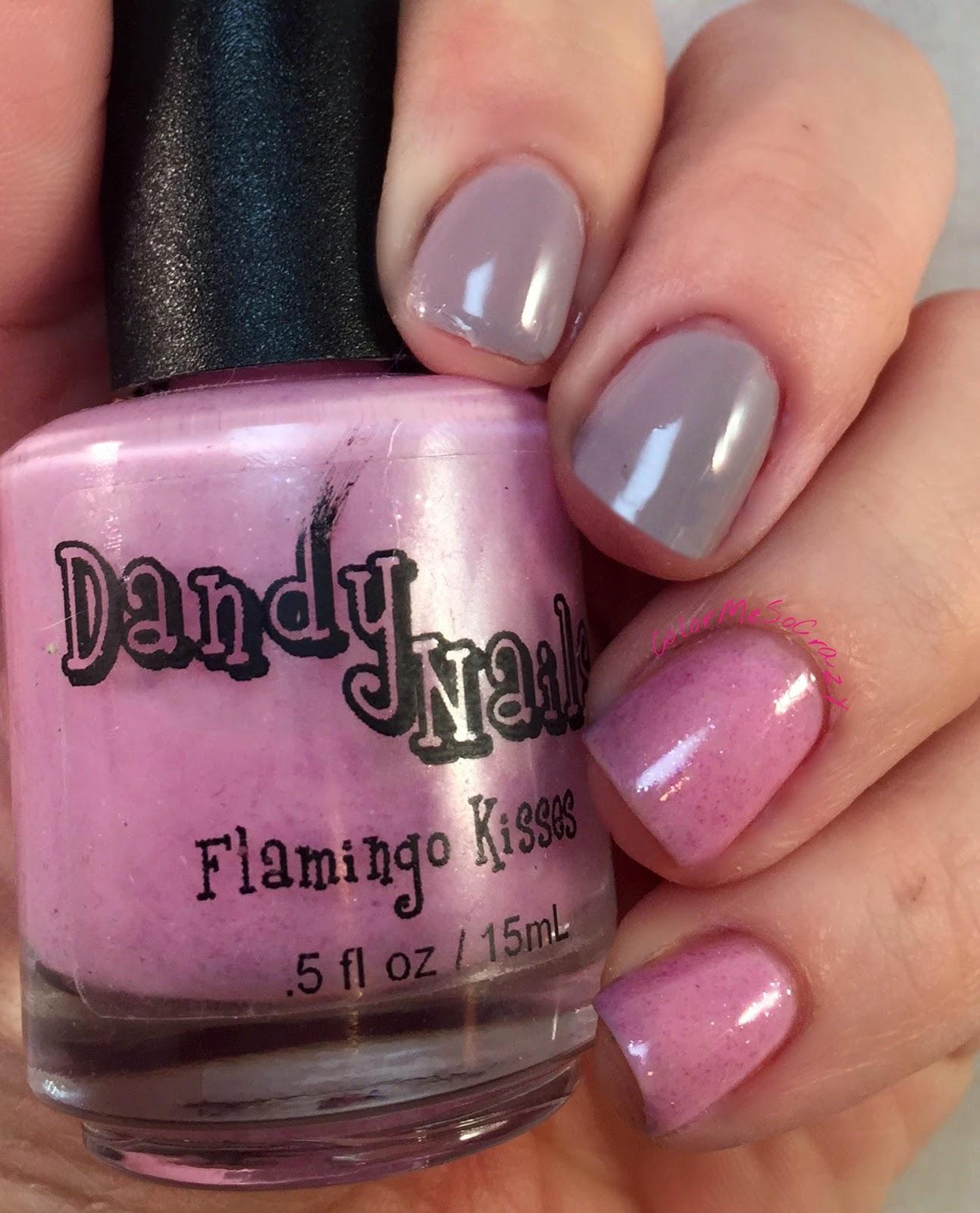 dandy nails- flamingo kisses- sandy hook polish- indie polish- dance legend- thermal polish- trio no 3- skittle nails