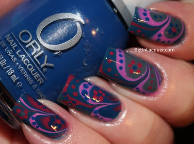 Water marble nail art with Orly