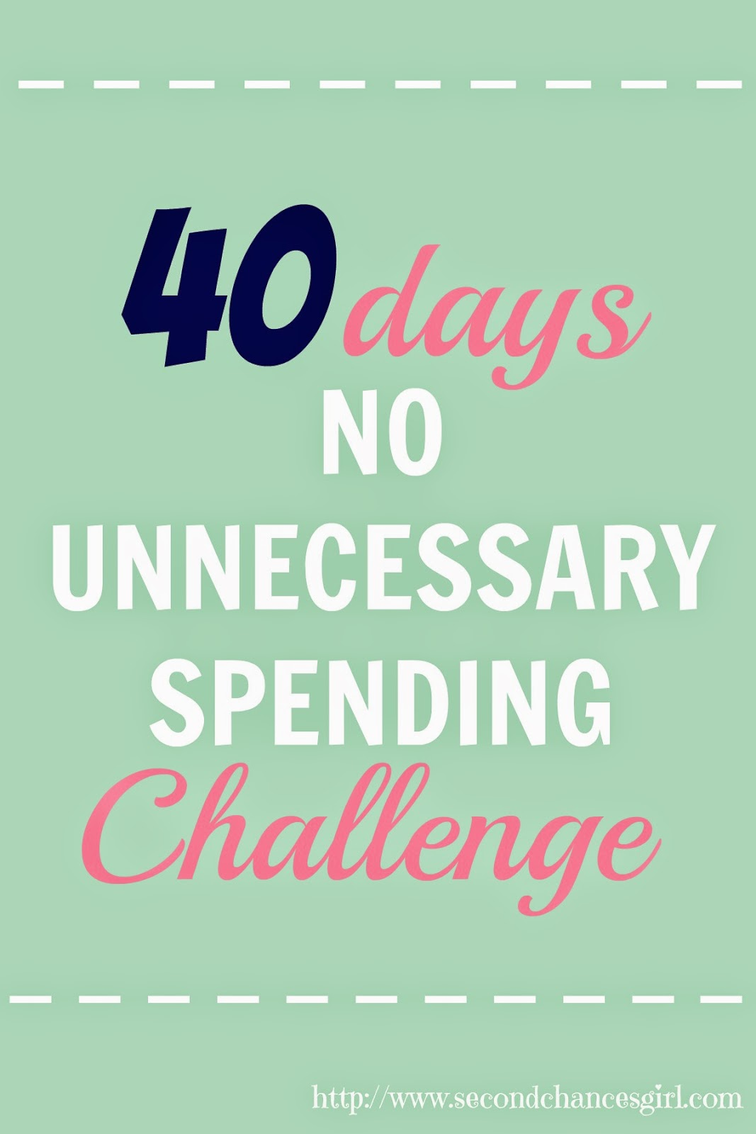 Join me in a 40 Day No Unnecessary Spending Challenge for Lent! Super easy way to save money!!