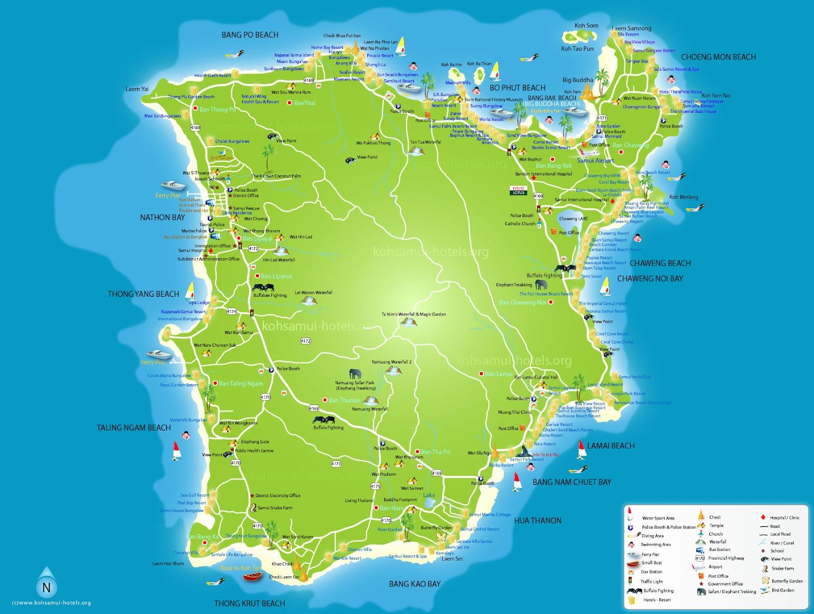 Koh Samui to Koh Tao Map Map of Koh Samui And of The