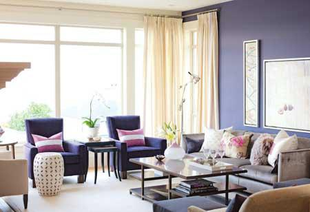 A Deeper Shade Of Dusty Lavender Walls In The Room Sarah Richardson Again Purple Chairs And Orchid Stripe Pillows Help Spread Color Around