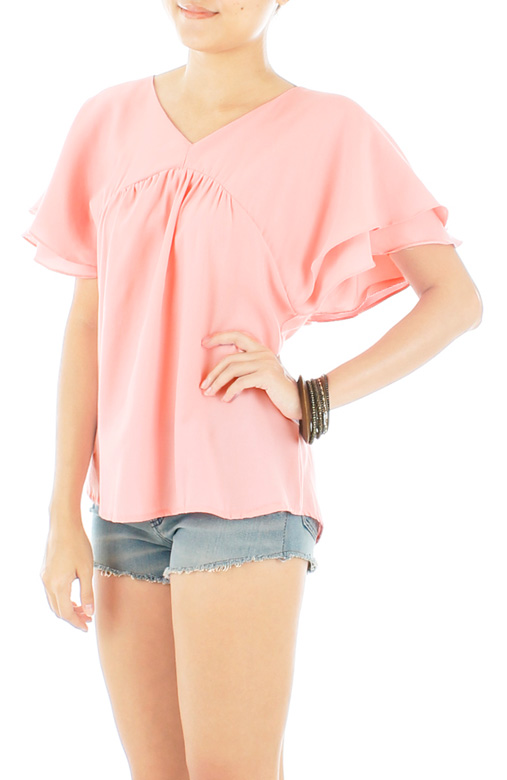 Flutter Cape Blouse in Pink Bloom