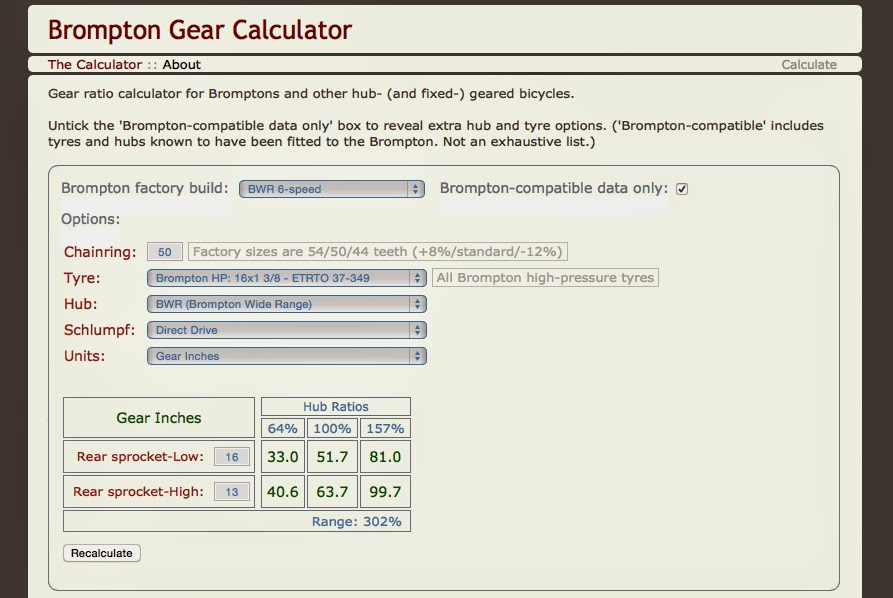 Brompton Gear Calculator Screenshot