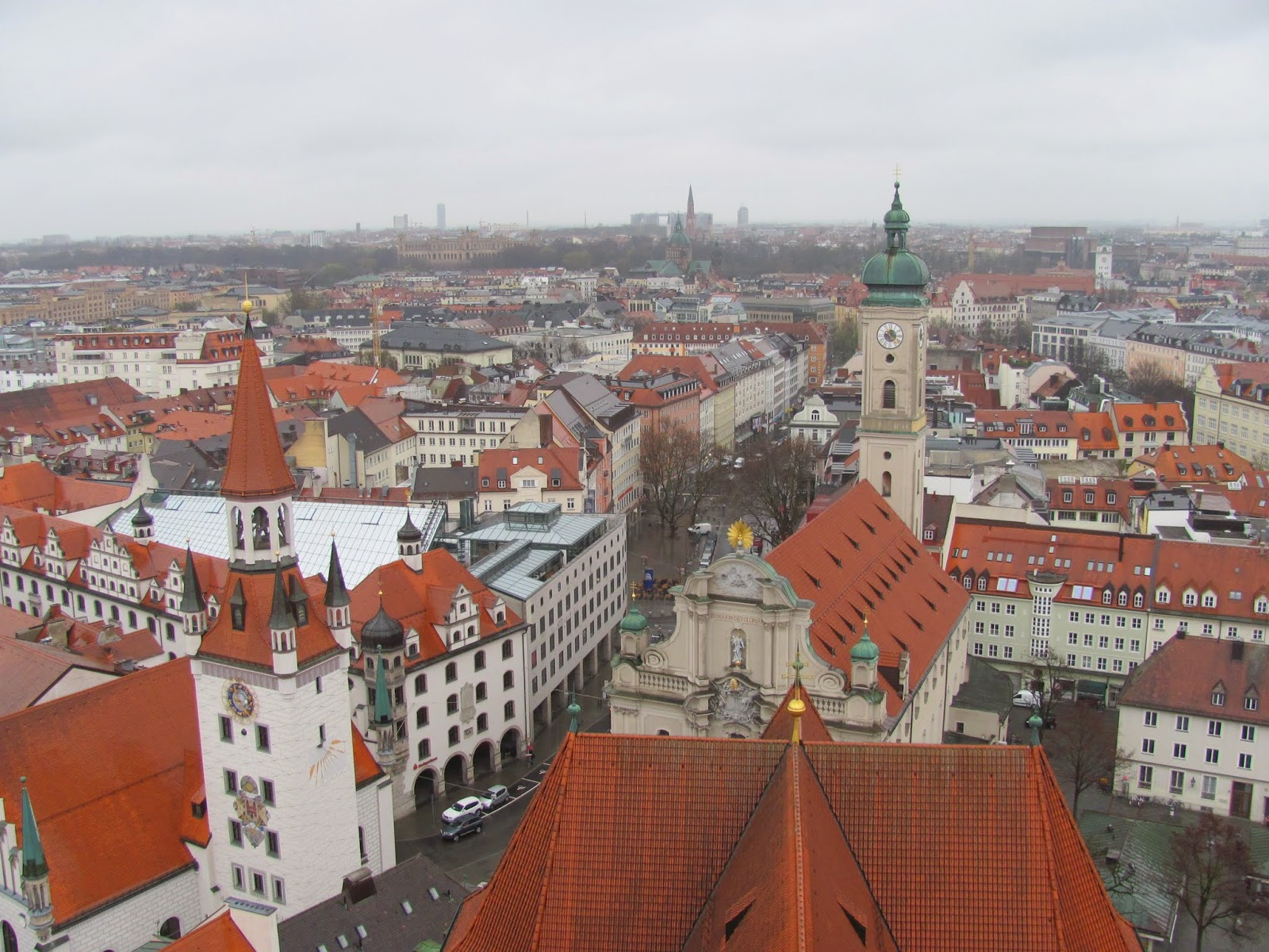 Away from Marienplatz Munich, Germany from St. Peter's Church tower