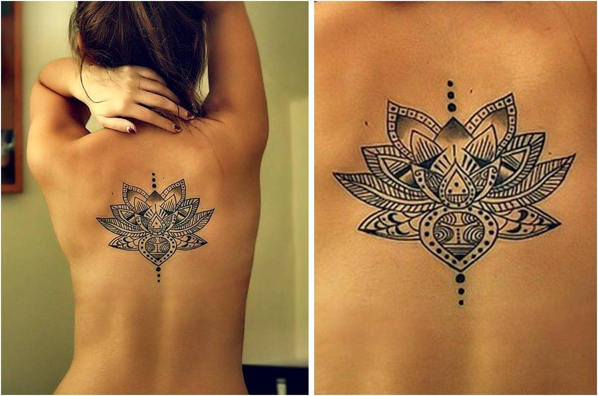 Black and White Lotus Flower Tattoo