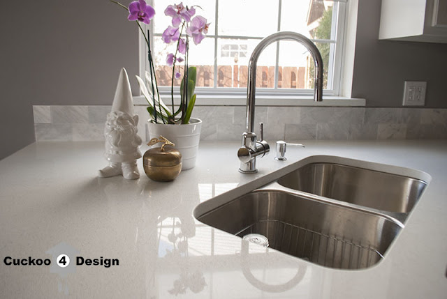 white Quartz countertops with Overstock 50/50 sink