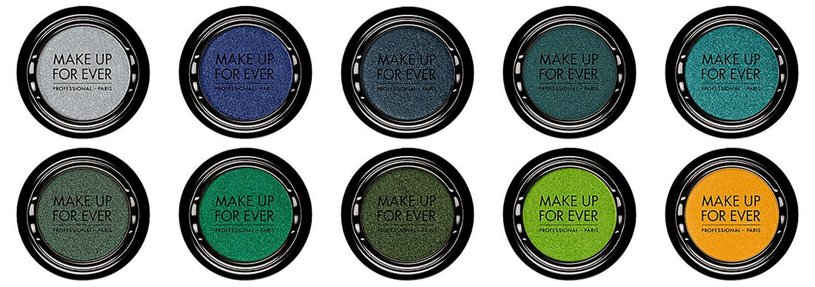 Make Up For Ever Artist Shadow Top from left: ME302 Peacock; ME304 Emerald; ME310 Fir Tree Green; ME338 Acidic Green; ME400 Buttercup  Bottom from left: ME202 Iceberg Blue; ME216 Electric Blue; ME224 Navy Blue; ME230 Peacock Blue; ME232 Turquoise Blue