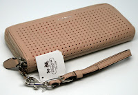 COACH Legacy Perforated Leather Double Accordion Zip Round Wallet 49000