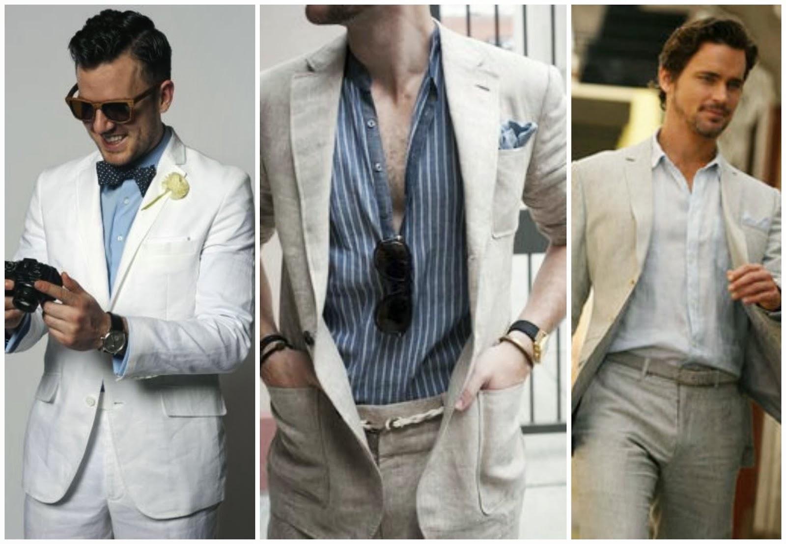 Trajes de lino para hombres con pechos cruzados