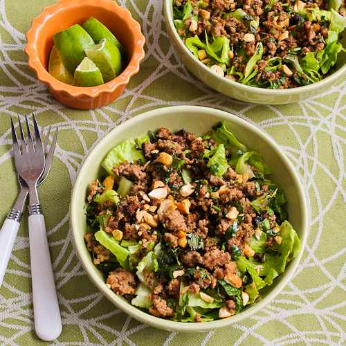 Thai-Inspired Turkey Larb Salad with Sriracha, Mint, Cilantro, and Peanuts