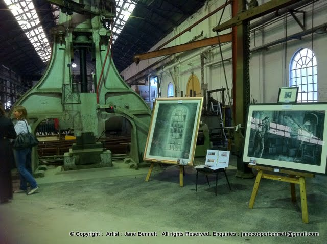 exhibition by Jane Bennett, industrial heritage artist painting the blacksmiths of 'Wrought Artworks' Australian Technology Park Eveleigh Railway Workshops