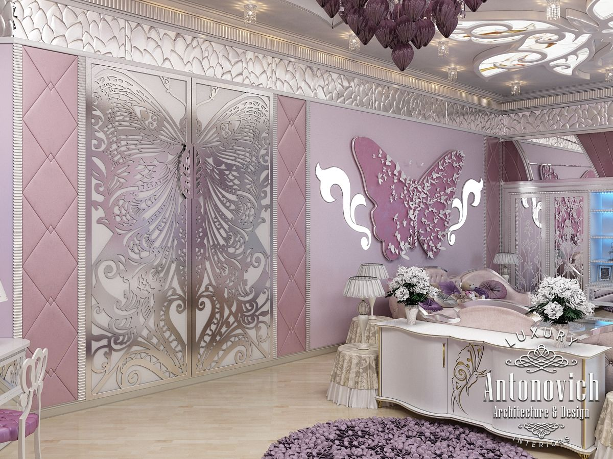LUXURY ANTONOVICH DESIGN UAE: Pink girly bedroom Dubai